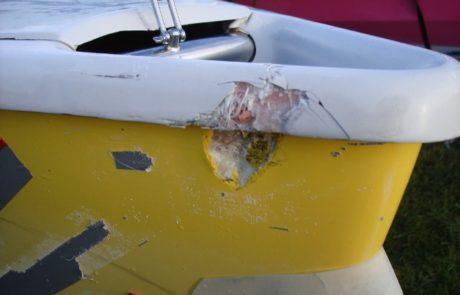 Repairs to broken GRP boat