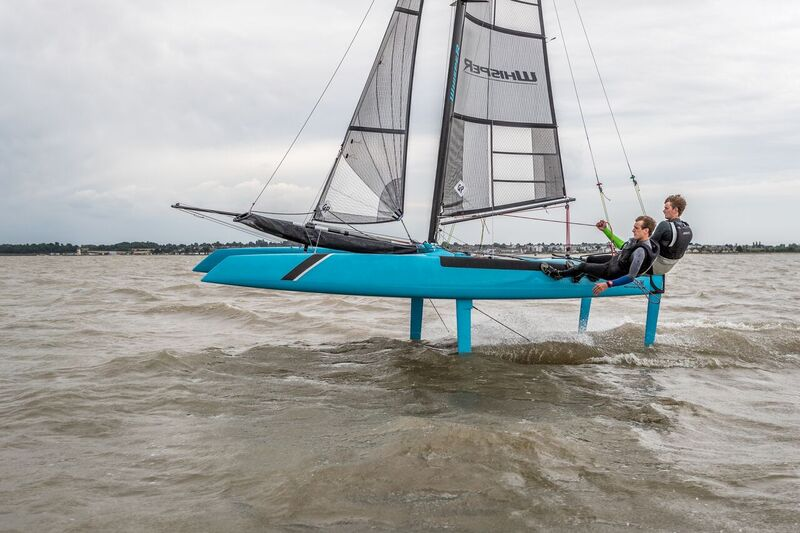 A foiling catamaran. Coaching from Windsport