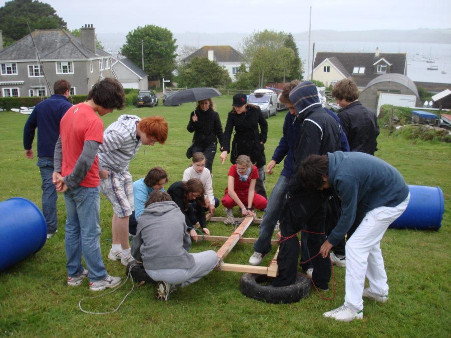 Raft building at Windsport Falmouth Cornwall Water Fun