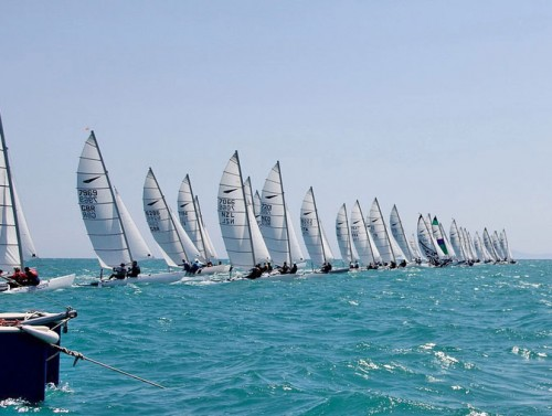 Dart 18 catamarans on start line